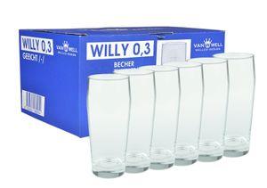 6er Set Bierglas Willibecher 0,3L geeicht Glas Biergläser Tumbler perfekt geeignet für Gastronomie