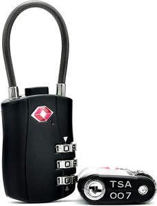 Zahlenschloss Set 2 Gepäckschlösser Spind TSA-kompatibles Rucksackvorhängeschloss - Reisetaschenschloss, Reisegepäckschlössern- strapazierfähiges Legierungsgehäuse - 3-stelliger Code - leich