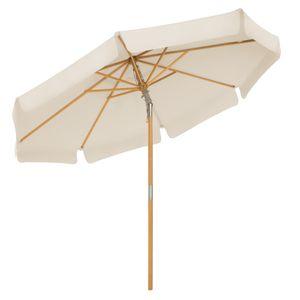 SONGMICS Sonnenschirm 300 cm, Sonnenschutz bis UPF 50+, knickbar, achteckiger, Schirmmast und Schirmrippen aus Holz, ohne Ständer, beige GPU32BE