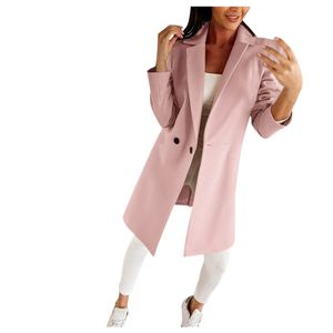 Mode Frau künstlicher Wollmantel Schlanke weibliche lange Mantel Oberbekleidung Jacke Größe:M,Farbe:Rosa