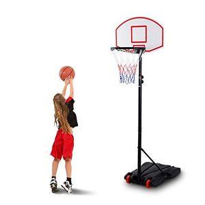 COSTWAY Basketballst?nder Basketballkorb mit Staender Basketballanlage Korbanlage hoehenverstellbar von 165 bis 215cm transportabel