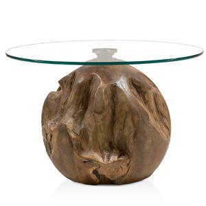 Wohnzimmer Kugel Beistelltisch UNIKAT Teakholz Tisch mit höhenverstellbarer Glasplatte B/H ca: Ø 70/65cm