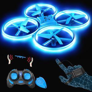SNAPTAIN SP300 Drohne mit Blaue LED, RC Quadrocopter mit 3 Fernbedienungen, 2 Akkus für 14 Minuten, Throw'N Go, Automatische Ausweichfunktion, Spielzeug Drohne für Anfänger und Kinder