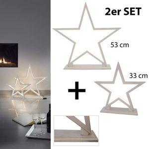2er Set LED Stern Tischlampe Holz Bambus weiß Weihnachtsstern