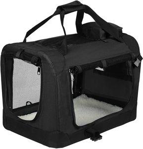 EUGAD Hundebox faltbar Hundetransportbox Auto für große Vierbeiner Schwarz XXL (91,4x63,5x63,5cm) 0133HT