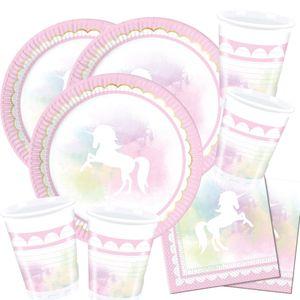 52-teiliges Party-Set Einhorn - Believe in Unicorn - Teller Becher Servietten für 16 Kinder