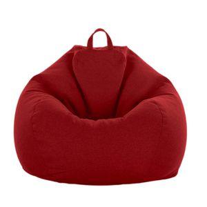 NEUFU Sitzsack Stühle Couch Sofabezug Lazy Lounger Sofa Sitzsack Stuhlbezug für Kinder und Erwachsene, kein Füllstoff, Rot 80x90cm