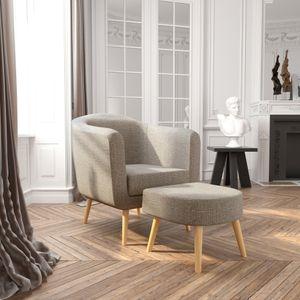 Meerveil Sessel mit Hocker, Couch, Sofa, moderner Ohrensessel aus weichem Stoff, Relaxsessel, Fernsehsessel, geeignet für Wohnzimmer, Schlafzimmer und Büro, Hellgrau