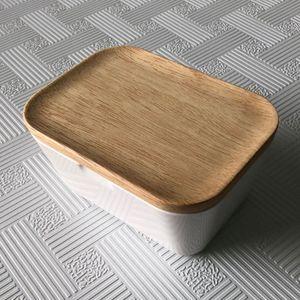 Butterdose Box Halter Luftdicht Butterhalter Küche Lagerung mit Deckel 250ml Beige Modern Rechteck