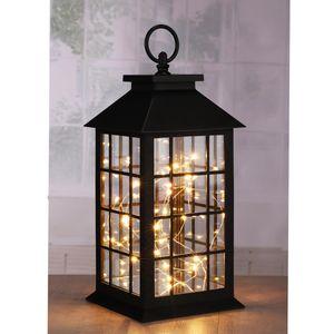 LED Laterne mit Drahtlichterkette - 30 warmweiße LED - H: 31,5cm - Timer - Batteriebetrieb - schwarz