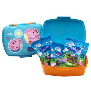 Peppa Pig Brotdose Lunchbox mit 3 Beuteln Peppa Wutz Fruchtgummi