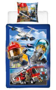 """Lego City Renforce-Kinder-Bettwäsche """"POLIZEI & FEUERWEHR""""135 x 200 cm, 100 % Baumwolle"""
