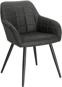 WOLTU Esszimmerstuhl Küchenstuhl Polsterstuhl mit Armlehne, Sitzfläche aus Stoffbezug, Metallbeine, Dunkelgrau