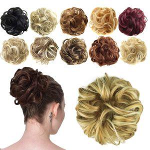 Haargummi-Haarteil, für Haarknoten/Pferdeschwanz, Haarverlängerung, gewellt, unordentlicher Haarknoten, Dutt, Hochfrisur, Haarteil, Lightest Ash Brown & Bleach Blonde