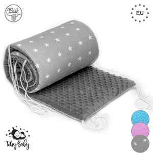 Bettumrandung Nestchen Umrandungen 180x30 cm Baby-Bettumrandung Bettnestchen für Kinderbett Babybett 60x120 Beistellbett Gitterbett Umrandung grau mit weißen Sternen + MINKY grau