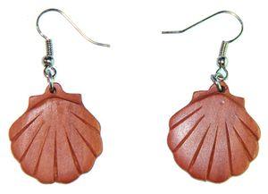Ohrringe Muschel aus Sabo-Wood