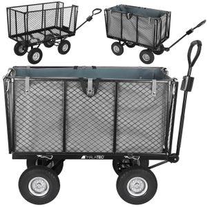 Bollerwagen Gartenwagen Handwagen mit Innenverkleidung herausnehmbare Plane mit Griffen bis 350 kg Schwarz 9040