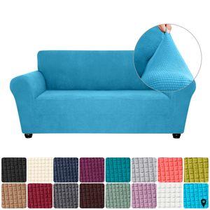 Stretch Sofa Schonbezug Elasthan Anti-Rutsch Soft Couch Sofabezug 2-Sitzer Waschbar für Wohnzimmer Kinder Haustiere (Himmelblau)