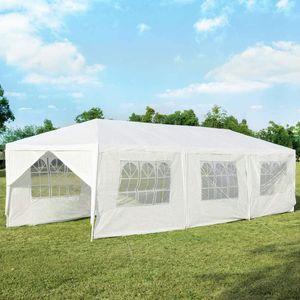 COSTWAY 3x9m Gartenpavillon Partyzelt mit 8 Seitenwände, UV-Schutz, Gartenzelt faltbar