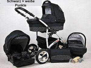Polbaby Kinderwagen Largo, 3 in 1- Set Wanne Buggy Babyschale Autositz (schwarz + waise punkte)