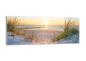 """Glasbild - 100x40 cm - """"Das Rauschen des Meeres, das Singen von Vögeln, ein wilder Strand zwischen den Gräsern ...""""- Wandbilder  - Meer Wellenbrecher - Arttor - GAB100x40-3989"""