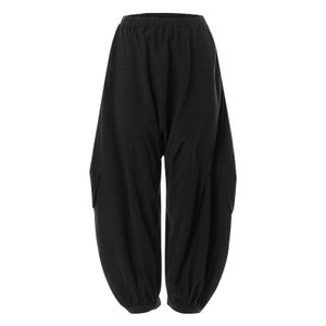 ZANZEA Damen Mode Vintage Hohe Taille Lose Weites Bein Lang Harem Hose Pumphose, Farbe: Schwarz, Größe: XL