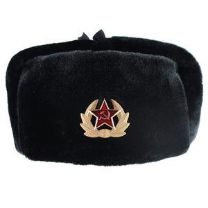 Hüte Winter Trapper trooper Hut Faux-Kaninchen-Pelz Earflap Männer Schnee Caps -(schwarz-Abzeichen,)