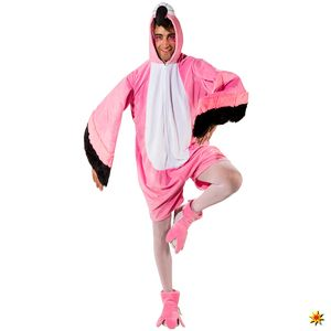 Orl - Herren Kostüm Flamingo Overall Fußstulpen Karneval Fasching
