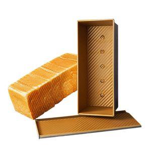 CANDeal Für 1000g Teig Toast Brot Backform Gebäck Kuchen Brotbackform Mold Backform mit Deckel(Gold-Rechteck-Welle)