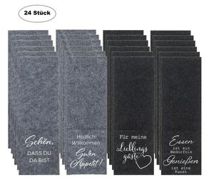 24 Stück Bestecktaschen aus Filz mit 4 Sprüchen Tasche Grau und Schwarz