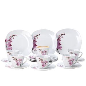 Kaffeeservice 18-tlg. Kyoto Orchidee leicht eckig Porzellan für 6 Personen weiß mit Nachbildung