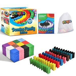 Calmado - 360 teilig Domino Steine aus Holz Domino Family Edition im Set + Tasche + Anleitung