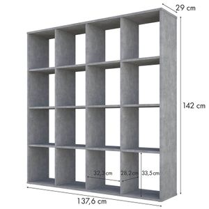 Polini Home Raumteiler Bücherregal Regal 16 Fächer Beton-grau,