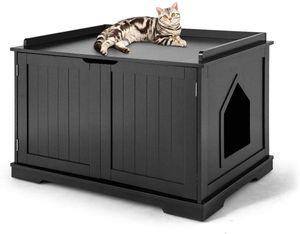 COSTWAY Katzenhaus Katzenhöhlemit Bett, geschlossene Katzentoilette mit Eingang, Haustierbox Haustierkiste aus Holzstruktur, großes Katzenklo Katzenschrank für Katzen Hunde Haustier (Schwarz)