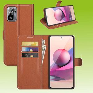 Für Xiaomi Redmi Note 10 / 10s Handy Tasche Wallet Premium Braun Schutz Hülle Case Cover Etuis Neu Zubehör