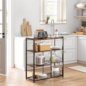 VASAGLE Küchenregal mit 2 Metallkörben | 80 x 35 x 95 cm Bäckerregal mit Haken und Regalablagen | Mikrowellenregal Industrie-Design Vintage dunkelbraun KKS96X