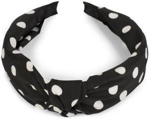 styleBREAKER Damen Haarreif mit Punkte Muster und Knoten im Retro Style, Rockabilly, Vintage Look, Haarband, Headband 04026015, Farbe:Schwarz-Weiß