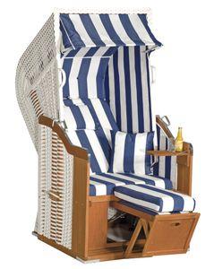 Rustikal Strandkorb 250 Plus 1-Sitzer, Halblieger Ostseeform, Geflecht weiß, Strukturpolyester blau-weiß-gestreift, Fichtenholz lasiert, ca.95x90x160