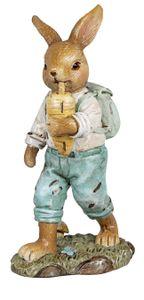 dekojohnson Deko-Hase Osterhase Junge mit Möhre Karotte Gartenfigur Gartendeko Osterdeko blau braun stehend 13cm Osterfigur Bunny Kaninchen