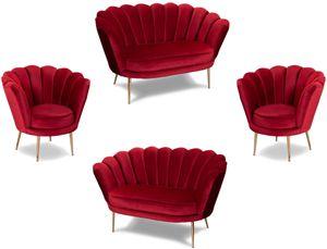 Casa Padrino Designer Art Deco Wohnzimmer Set Rot / Messingfarben - 2 Sofas & 2 Sessel - Wohnzimmer Möbel - Art Deco Möbel