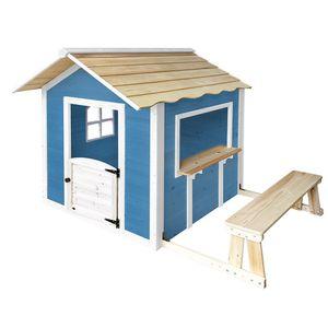 Spielhaus DER GROßE PALAST - Blau mit Bank