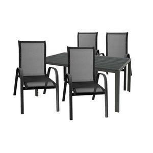 Gartengarnitur Sitzgarnitur 5-teilig 180x90cm Aluminium / Polywood