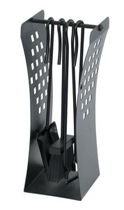 Kaminbesteck / Kamingarnitur Lienbacher schwarz gebogen 4-tlg. H 43cm