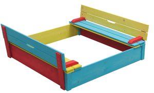 Sandkasten für Kinder Buddelkiste Sandkasten mit Sitzbank u. Abdeckung - (3962)