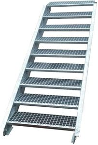 Stahltreppe verzinkt 9 Stufen Geschosshöhe 135-180cm / Stufenmaße 100 cm x 24 cm