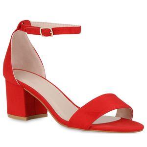 Mytrendshoe Klassische Damen Sandaletten Basic Mid Heel Blockabsatz Schuhe 826401, Farbe: Rot, Größe: 36