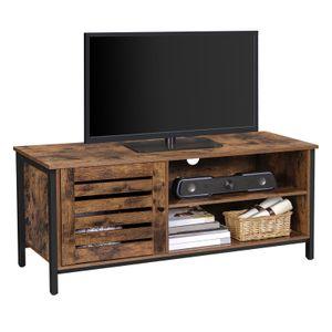VASAGLE TV-Schrank mit Tür 110 x 40 x 50 cm TV-Regal bis 50 Zoll Fernsehtisch Lowboard 2 offene Fächer vintagebraun-schwarz LTV049B01