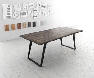 Massivholztisch Live-Edge Akazie Platin 200x100 Platte 3,5cm Gestell schräg schwarz Baumtisch