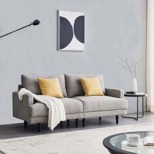 Merax Sofa Couch 2 Sitzer Schlafsofa Sofa, Sofa Sessel mit Holzfüßen und Schlaffunktion, Stilvoll Bettsofa, Wohnzimmer Polstersofa, Grau