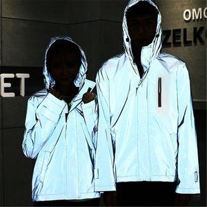 Reflektierende Jacke Männer / Frauen Harajuku Windbreaker Jacken Hooded Streetwear Coat Größe:XL,Farbe:Grau